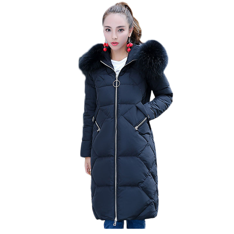 Winter new women Down jacket New tide Korean of the long down jacket women fashion big collar thick Slim women's down jacket olgitum women s winter warm in the long section of slim was thin winter clothes tops down jacket big hair collar cc056