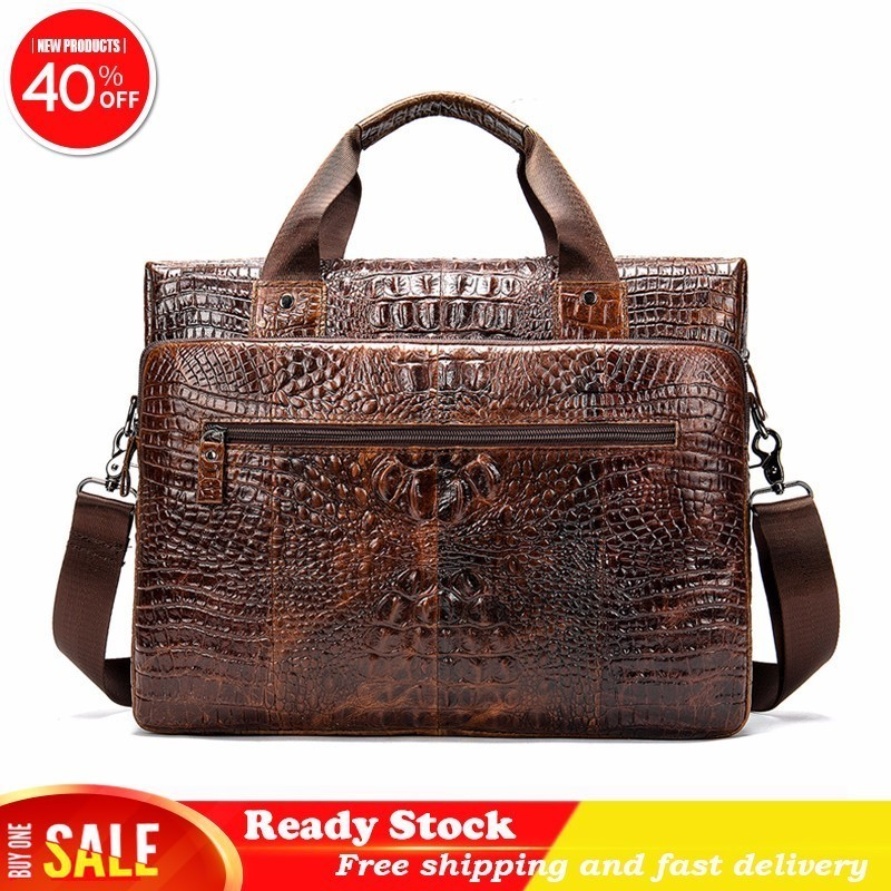 Luxury Brand Messenger Bag Men Genuine Leather Briefcase High Quality Male Laptop Cow Crossbody Crocodile Pattern Fast Delivery