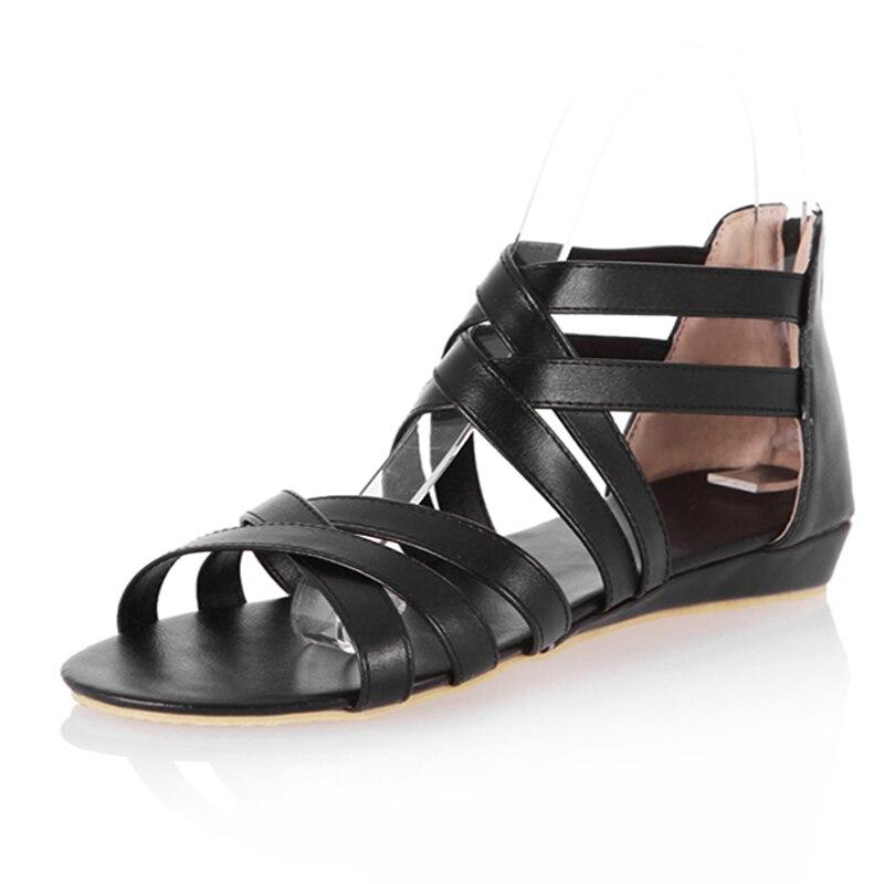 Женщины сандалии женская обувь открытым носком весна лето гладиатор сандалии женщины плоские туфли пляж вьетнамки черный коричневый