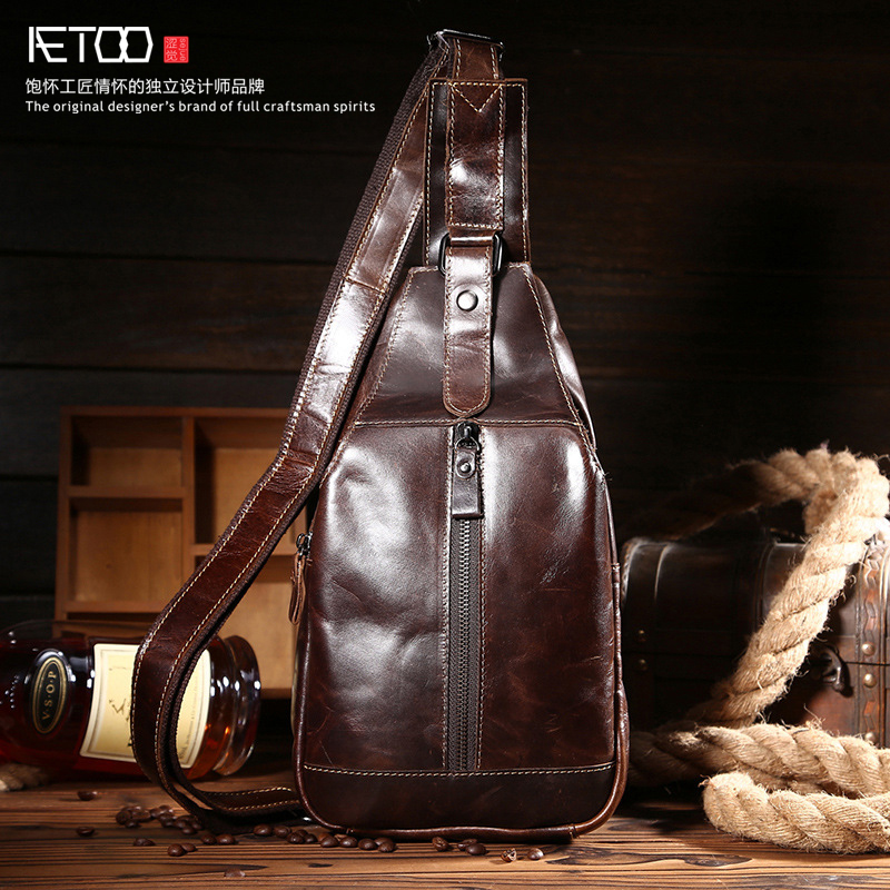 ФОТО AETOO new oil wax leather leather first layer of leather retro chest bag men and women tide package men and women bag