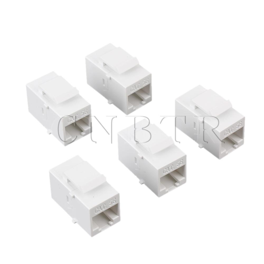 CNBTR 5 x Cat5 RJ45 Ethernet Inline Jack Coupleur Avec Keystone Loquet Femelle à Femelle