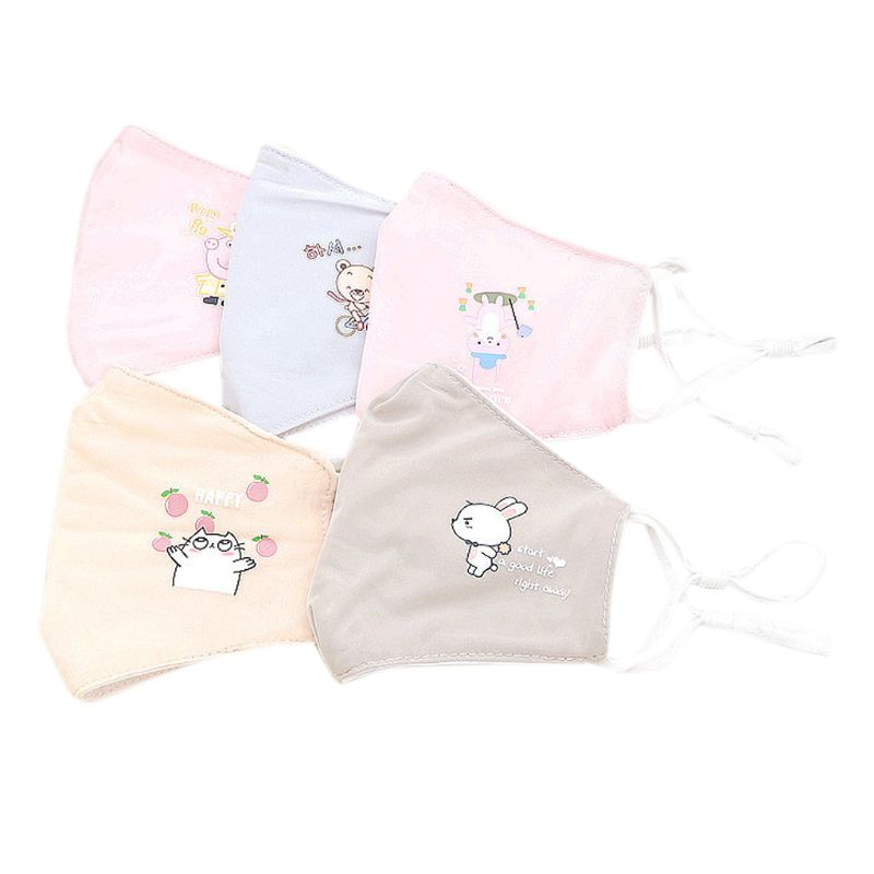 Kid Summer Breathable 3D Anti-dust Cotton Mask Cute Cartoon Animal Printed Anti Pollution Protector Adjustable Straps Mouth Mask