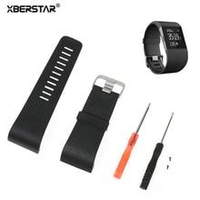 Surge XBERSTAR Strap Pulseira para Fitbit Banda Substituição Faixa de Relógio TPU Duas Cores com Ferramentas de Metal Fivela para Surto de Rastreador