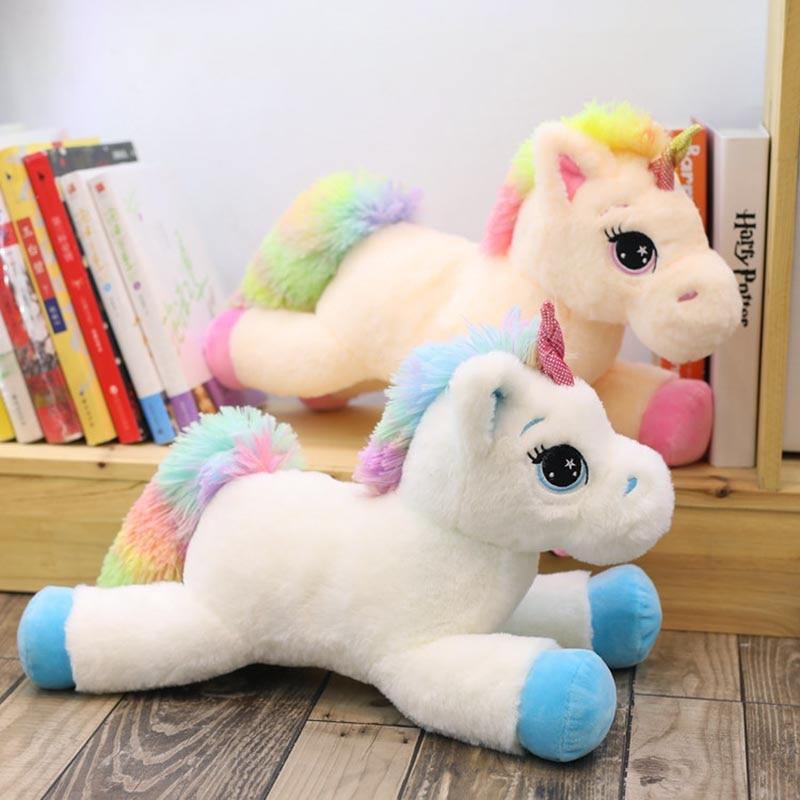 40cm 60cm 80cm Rainbow Unicorn Plush Toys Kawaii Kids Toys Stuffed Cartoon Animal Baby Doll Children Christmas Birthday Gift