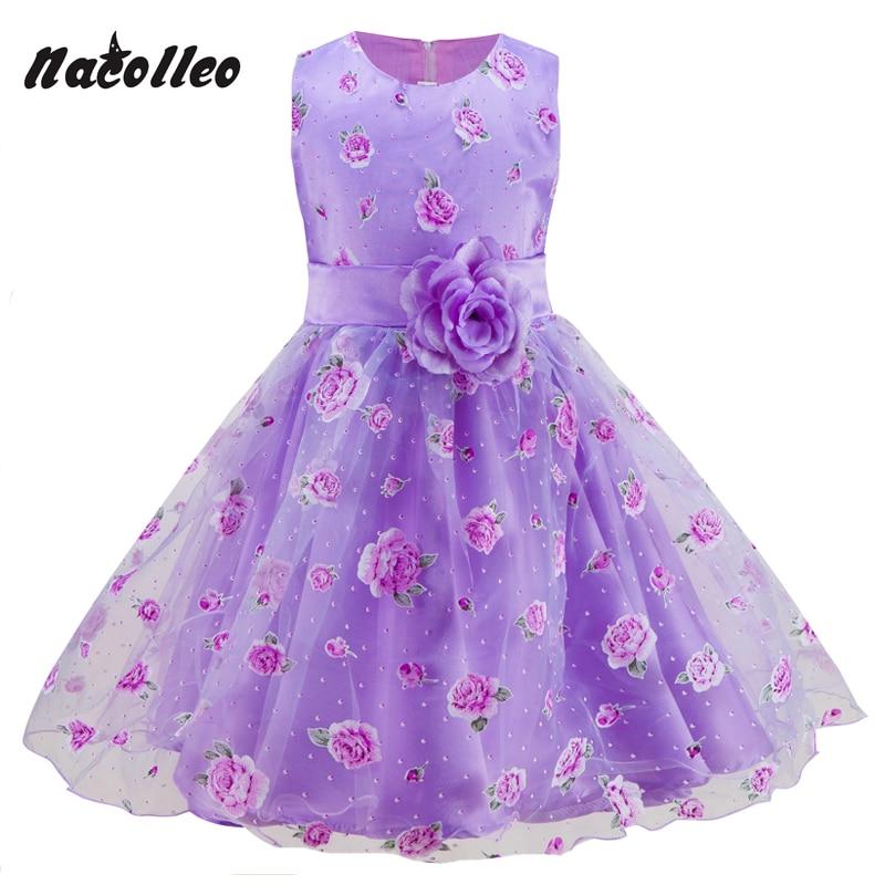 Lányok fél ruha új virág nyomtatás gyerekek Prom születésnapi esküvői ruha rózsaszín és lila szín nyári gyerekek ruhák hercegnő stílusban