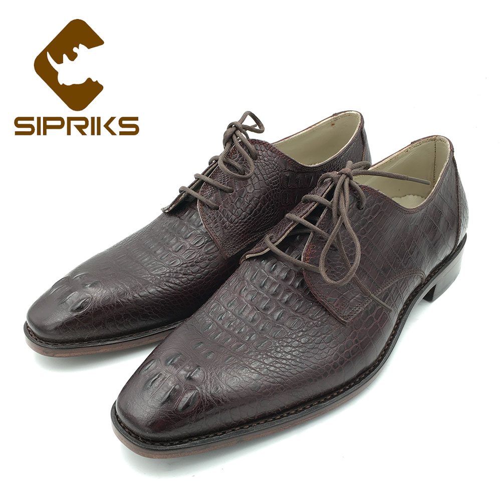 Sipriks Italian Handmade Mens Goodyear Welted Shoes Crocodile Skin Leather Shoes Boss Mens Wine Red Leather