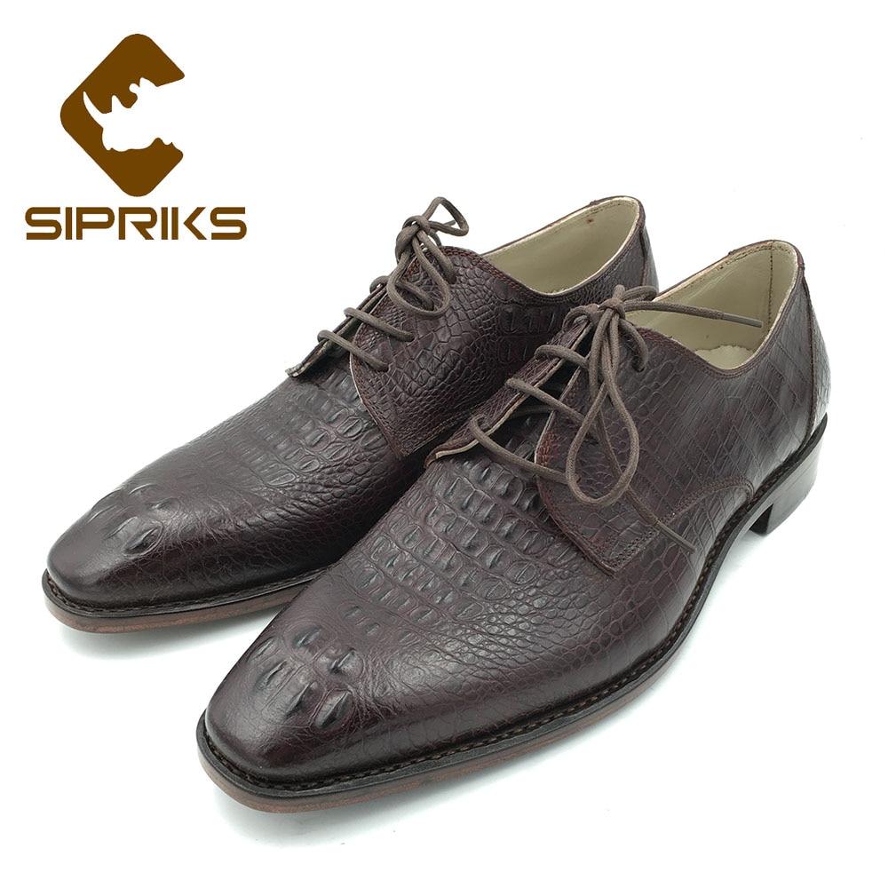 Ayakk.'ten Resmi Ayakkabılar'de Sipriks İtalyan El Yapımı Erkek Goodyear Welted Ayakkabı Timsah Derisi deri ayakkabı Boss Erkek Şarap Kırmızı Deri Taban Erkekler için Takım Elbise'da  Grup 1