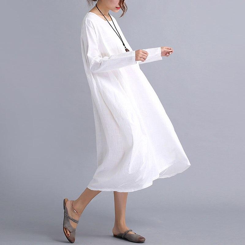 2019 Autumn Long Sleeve O-neck Bottom Maternity Dress For Pregnant Women Linen Loose Lady Pregnancy Dress Gravidas Vestidos
