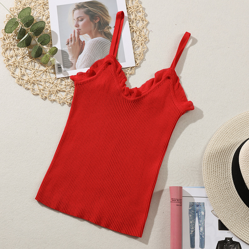 10pcs/lot Good Quality Women Summer Fashion Sexy  Knitted Sling Vest Slim Thin Wearing Sleeveless Strap Vest Tops
