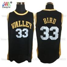 2017 Men Dwayne Cheap Throwback Basketball Jersey Larry Bird Jersey #33 Spring Valley High School Stitch Black Retro Shirts