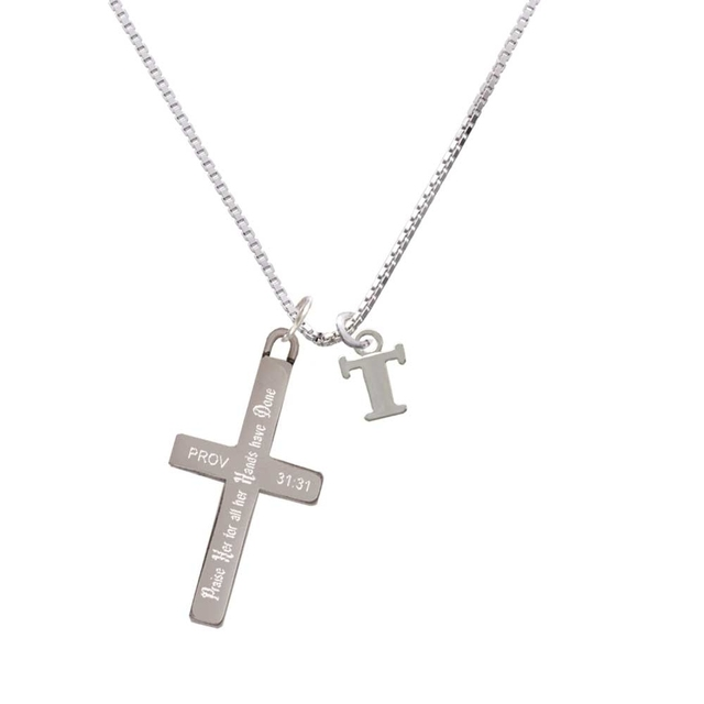 Small Greek Letter Tau Praise Her Cross Necklace In Pendants From