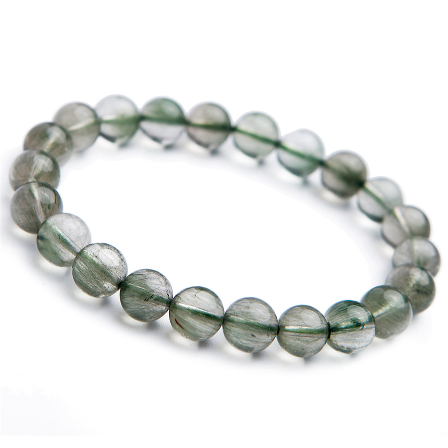 2018 Newly Genuine Natural Green Rutilated Quartz Drop Shipping Women Femme Charm Stretch Round Crystal Bead Trendy Bracelet 8mm genuine natural copper hair rutilated quartz crystal women stretch charm round stone bead bracelet 8mm
