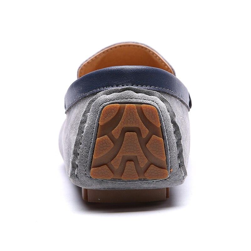 coffee Ocasional gray Respirável Natural Sapatos De Black Em Deslizamento Luxo Masculinos Camurça Marca Homens Da Couro wZI66v