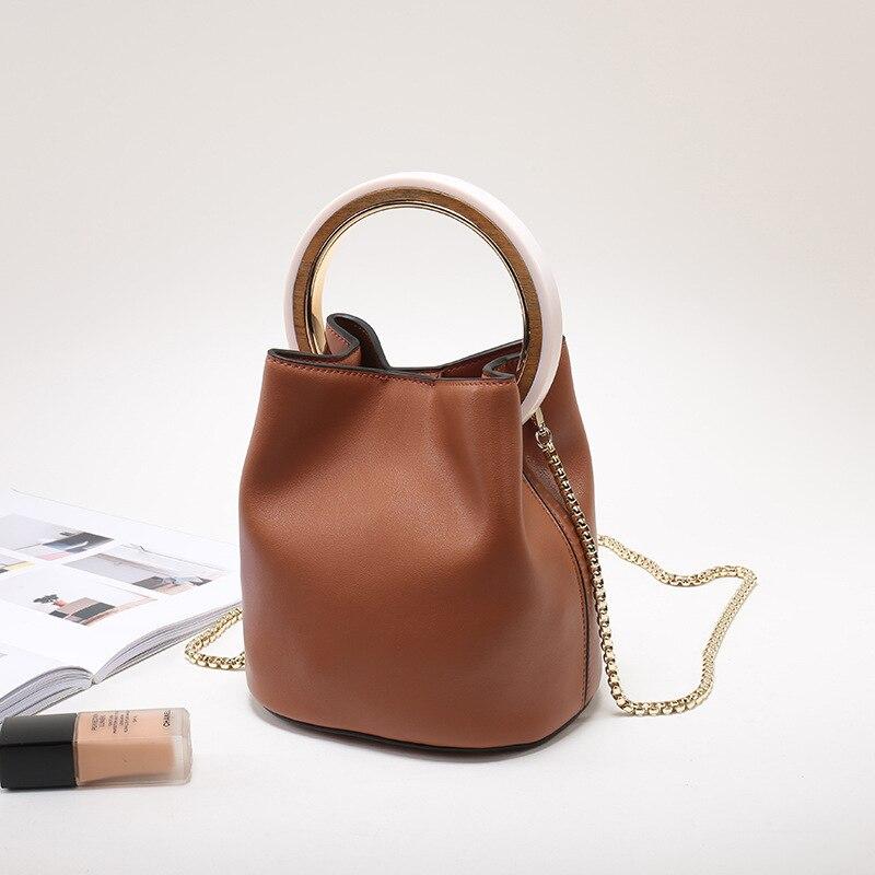 Sac à main femme en cuir fendu 2019 Vintage chaînes sac à main bandoulière femmes Chic anneau sac seau grande capacité petit sac fourre-tout - 3