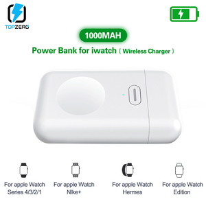 Image 2 - 1000mAh Charger Powerbank สำหรับ Apple Watch 1 2 3 4 MINI Power Bank สำหรับ iWatch 1 2 3 4 ภายนอกแบตเตอรี่ชาร์จ USB