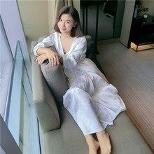 цены Two-Piece Silk Sleeping Robe Nightdress Sets Female Spring Autumn Long-Sleeve White SILK Woman Sleepwear Bathrobes LMR02