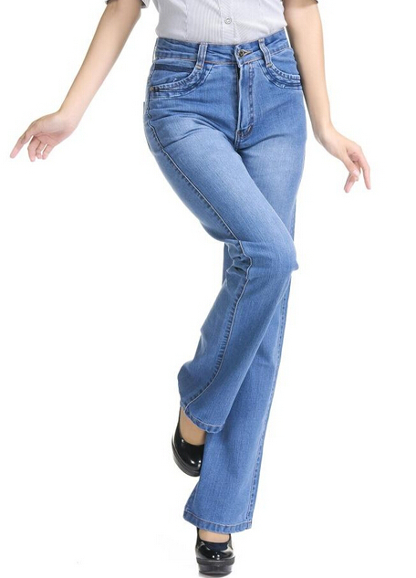 Free shipping plus size elastic plus size bell bottom   jeans   female trousers women's high waisted pants
