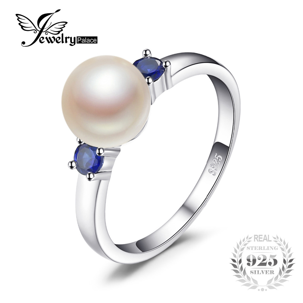 JewelryPalace 3 Stones 8mm Cultured Freshwater Pearl Round Blue Created Sapphires Ring For Women 925 Sterling