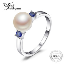 JewelryPalace 3 Stones 8mm Cultured Freshwater Pearl Round Blue Created Sapphires Ring For Women 925 Sterling Silver Jewelry