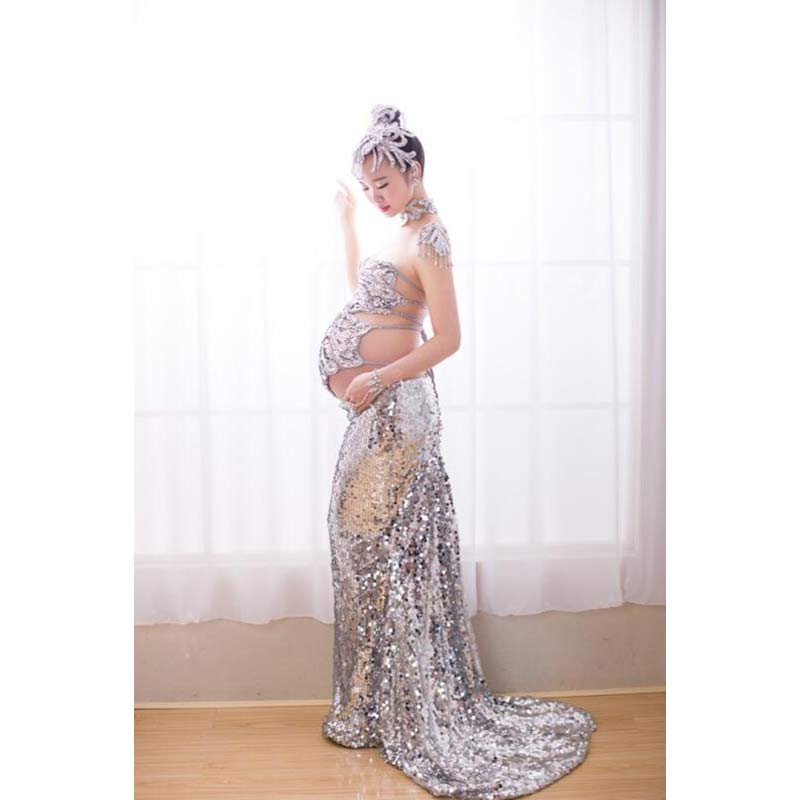 Sequined Fishtail Dress Maternity Photography Props Fancy Long Skirt Maternity Dresses Pregnant Clothes Photography Maternity checkered fishtail hem skirt