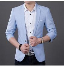 284b09a629b53 2019 mody mężczyzna przypadkowi 1 bawełniane kurtki męskie Slim Fit  formalne błękitny czarny Blazer garnitur Plus