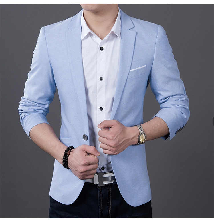 2018 Mode Mænd Casual 1 Bomuld Jakke Mand Slim Fit Formel Sky Blue Sort Blazer Suit Plus Størrelse 5XL Fashion Men Blazer Sping