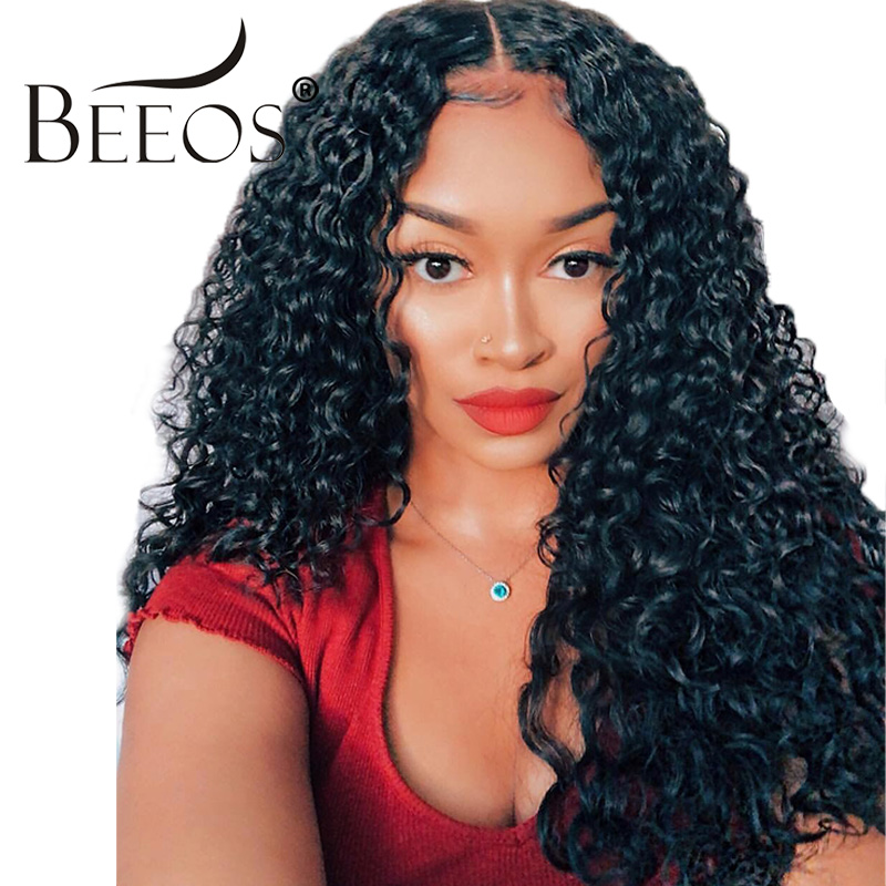Beeos Lace Front Human Hair Wigs with Baby Hair Natural Black Pre Plucked 250% Density Peruvian Curly Remy Hair Wig