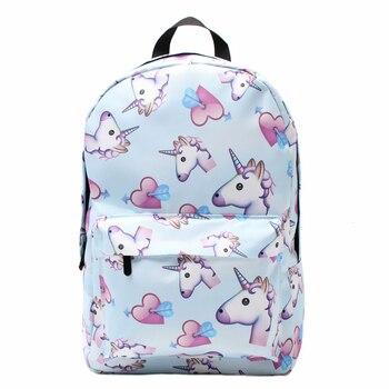 3PCS Backpacks 3D Printing Unicorn Cute Shoulder Bags