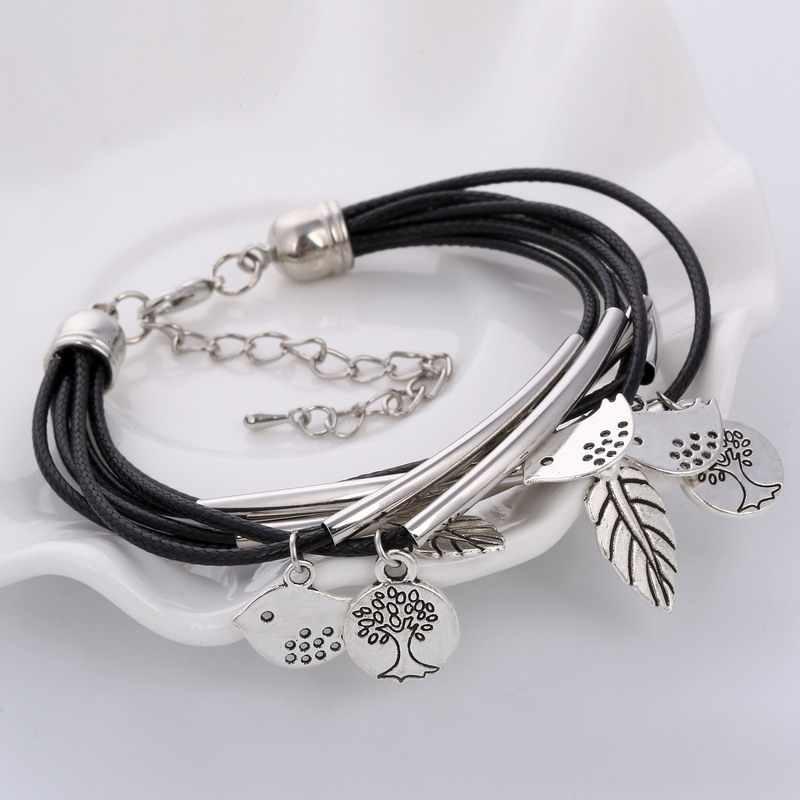 Hesiod Stainless Steel Silver Color Multilayer Wrap Leather Bracelet Men Jewelry Punk Birds Bead Bracelets Women Leave Bangles