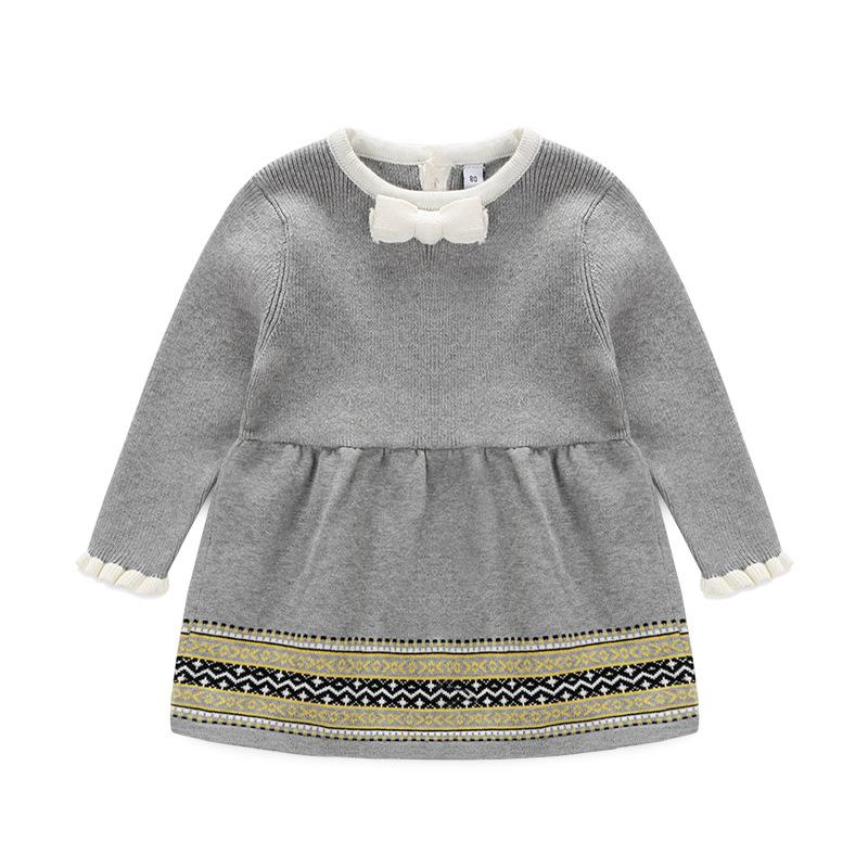 2017 New baby girl princess dresses for autumn and spring ,girls knitted dress with long sleeve children's clothes sweater dress цены онлайн