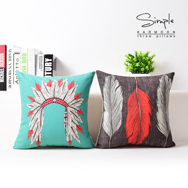 Feather Pillow Cover, Indian Tribal Headdress Native American Creative  Cartoon Throw Pillow Case Pillowcase Wholesale