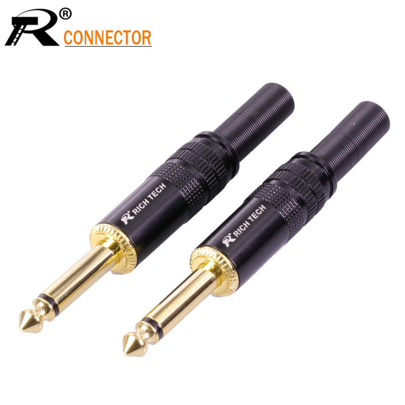 1PC Jack 6.35 Microphone plug 6.35mm Mono Male plug Assembly wire Connector good plating Audio speaker with spring 1pcs gold plated audio plug connector 6 35mm mono plug assembly jack 6 35 microphone plug diy speaker adapter