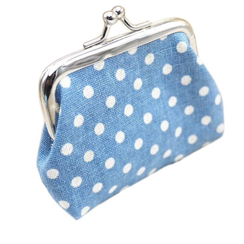 Women Girls Lady Coin Purse Cute Linen Dot Hasp Wallet Bag Change Pouch Key Card Holder Clutch Handbag Dropshipping Wholesale LP