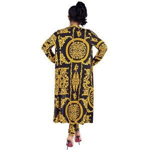Image 2 - 2019 New African Print Elastic Bazin Baggy Pants Rock Style Dashiki SLeeve Famous Suit For Lady/women coat and leggings 2pcs/se