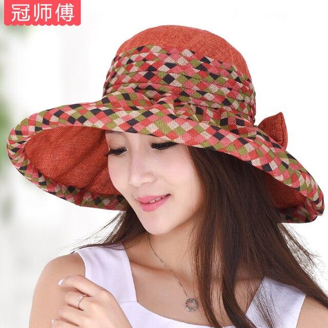 Hat female summer sunbonnet large brim linen fashion folding sun hat beach cap outdoor sunscreen hat