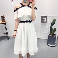 2017 Summer Sexy Off Shoulder Spaghetti Strap Lace Dress Slash Neck High Waist White Elegant Knee Length Dress Party Vestidos