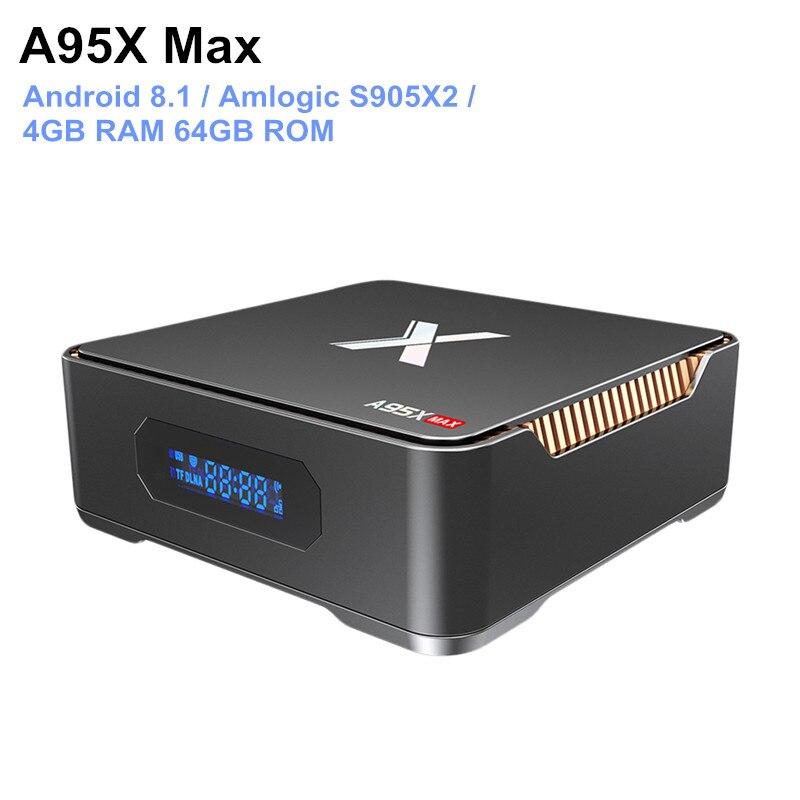 A95X Max Android 8.1 boîtier de smart tv Amlogic S905X2 4 GB RAM 64 GB ROM 1000 Mbps Set Top Box Bluetooth 4.2 lecteur multimédia Soutien 4 K