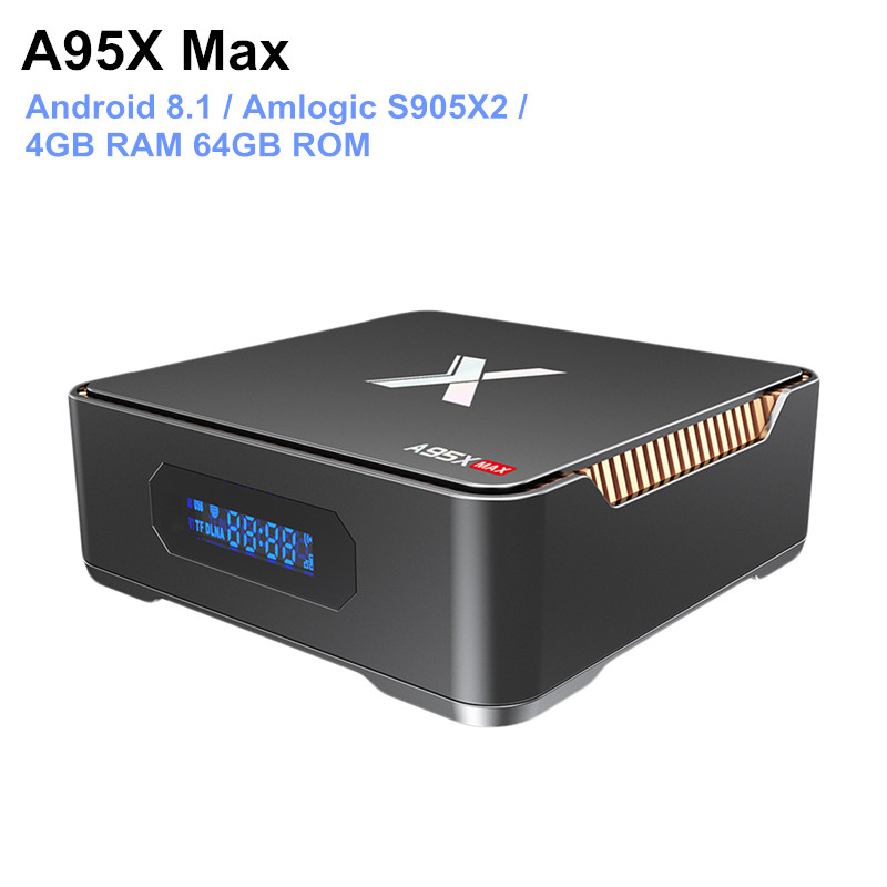 A95X Max Android 8.1 boîtier de smart tv Amlogic S905X2 4 GB RAM 64 GB ROM 1000 Mbps Set Top Box Bluetooth 4.2 lecteur multimédia Soutien 4 K