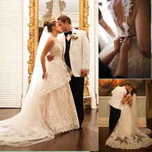 Designer Halter Appliques Lace Backless Wedding Dresses