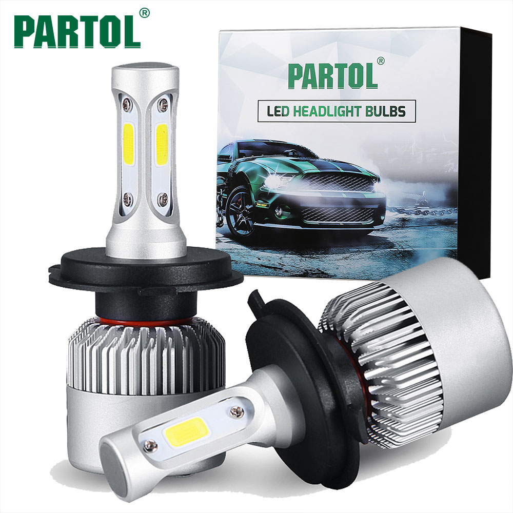 Partol S2 H4 H7 H13 H11 H1 9005 9006 H3 9004 9007 9012 COB <font><b>LED</b></font> Headlight 72W 8000LM Car <font><b>LED</b></font> Headlights Bulb Fog Light 6500K 12V