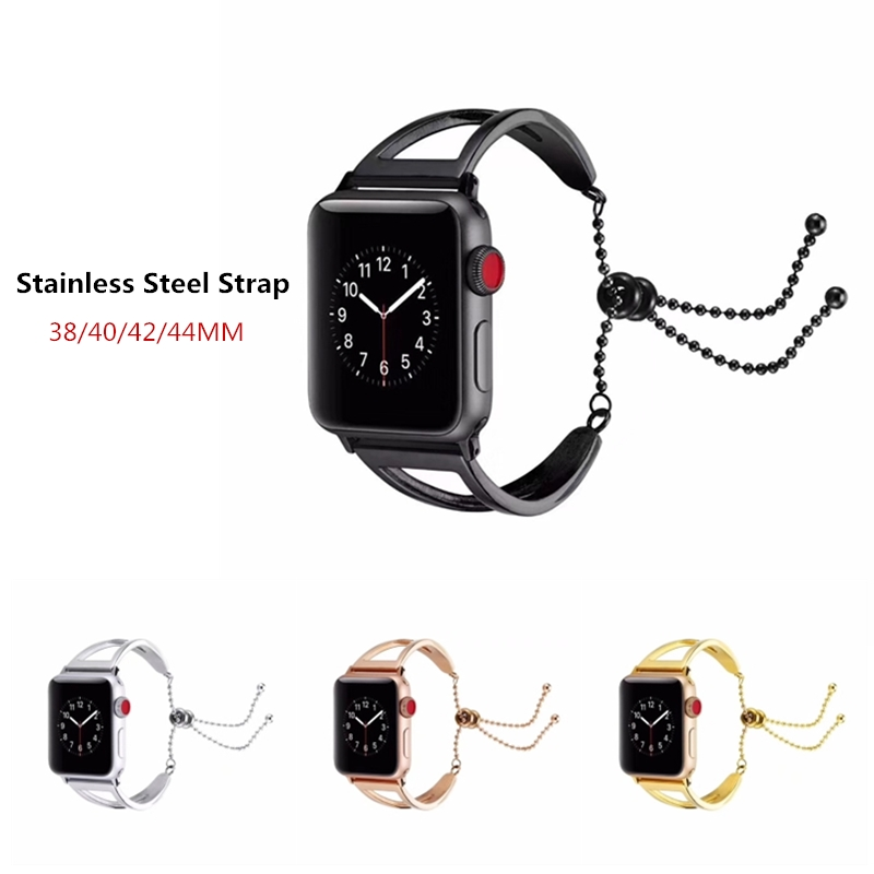 Women Jewelry Watchband For iWatch Apple Watch 38mm 42mm 40mm 44mm Series 4 3 2 1 Band Stainless Steel Strap Wrist Belt Bracelet image