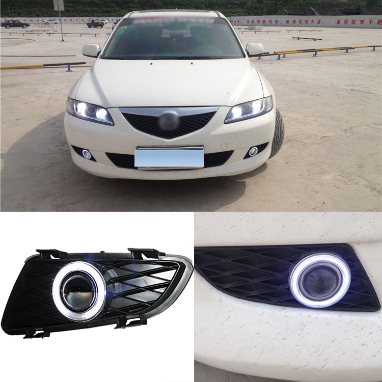 цены  Brand New Superb LED COB Angel Eyes+HID Lamp Projector Lens Foglights For Mazda 6 2004