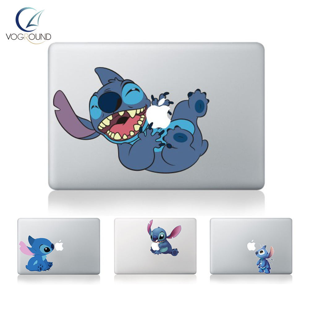 Free Shipping Hot Cute New High Qulity Premium Colorful Lovely Stitch Removable Vinyl Sticker Decal for Macbook 11 12 13 15 inch