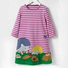 Аппликация милые животные платья для малышек одежда Демисезонный детей Длинные рукава в полоску Костюмы хлопок мультфильм платье Детская одежда