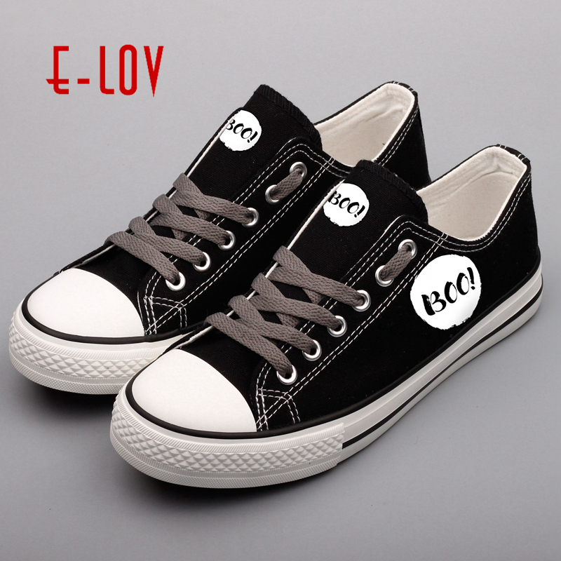 E-LOV Customized Halloween Party Canvas Leisure Shoes Printed Happy Halloween Low Top Casual Shoes For Couples e lov women casual walking shoes graffiti aries horoscope canvas shoe low top flat oxford shoes for couples lovers