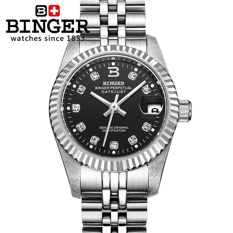 سويسرا المعصم BINGER 18K الذهب المرأة الساعات الذاتي الرياح التلقائي لف الميكانيكية المعصم BG 0375 2-في ساعات نسائية من ساعات اليد على  مجموعة 1