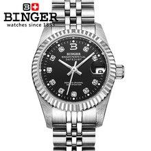 Relojes de pulsera de marca de lujo de Suiza BINGER Diamond, relojes para mujer, reloj mecánico automático para parejas, BG 0375 2 a prueba de agua