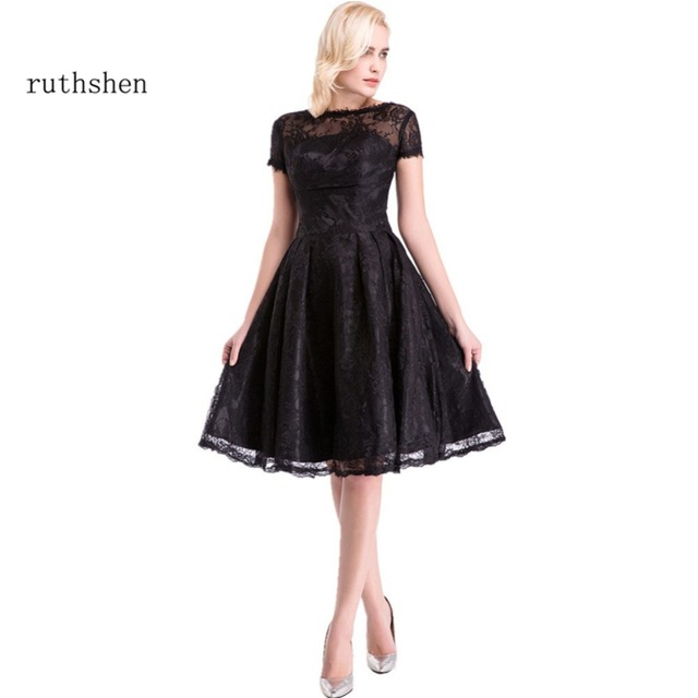 ruthshen Cocktail Dresses 2018 Women s Fashion Lace Round Neck A Line Short  Black Party Prom Dresses New Arrival 561231352e68