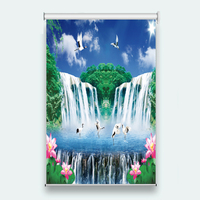 Fashion 3d Roller Blinds Waterfall water Window Living room Bedroom Hotel Meeting room Printing Roller Blinds Curtains