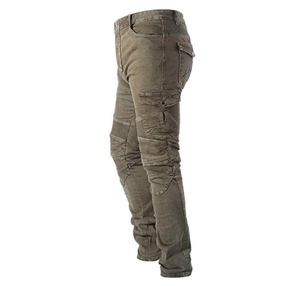 Takuey Motorcycle Riding Denim Jeans for Men Motocross Racing Armor Pants With Detachable CE Certified Knee Hip Protector Pads Army Green, S=28